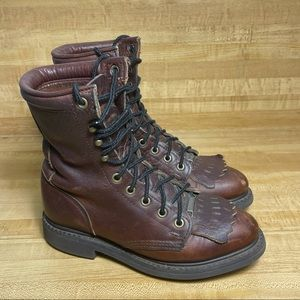 Double H Boots Women's Size 6 Brown Leather Roper Lace-Up Lacer 9314 Cowgirl